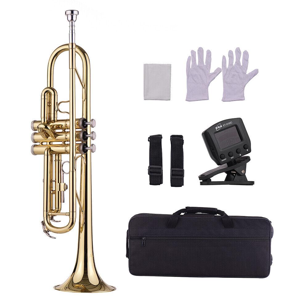 Anfänger Bb Messing Trompete mit Mundstück Bag Handschuhe Reinigung Kleidung Tuner P8H4