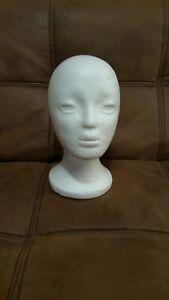 Polystyrene Female White Mannequin Dummy Wigs Hat Cap Head Display Holder Stand