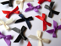 40 LOVELY SIMPLE TIE DOUBLE SIDED SATIN RIBBON BOWS 30MM WIDE VARIOUS COLOURS