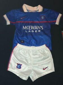 Nike-enfants-sport-set-MINIKIT-Glasgow-rangers-nouveau-maillot-pantalon