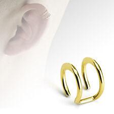 Fake Helix Piercing Ear Cuff Ohrklemme 2 Ringe vergoldet Doppelring Kein Loch