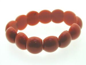 Art-Deco-Coral-Celluloid-Cabochon-Beaded-Bracelet-2-Holed-Beads-7-034-17-5-mm-wide