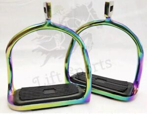 4-75-034-Rainbow-Multi-Color-Horse-Safety-Saddle-Stirrups-Double-Bend-Stainless