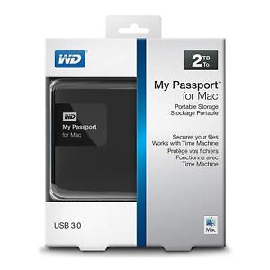 Details about WD 2TB Black My Passport for Mac Portable External Hard Drive  - USB 3 0    New