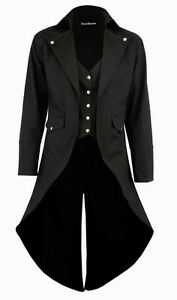 Men-039-s-Black-Cotton-Twill-STEAMPUNK-TAILCOAT-Jacket-Goth-Victorian-Coat-Trench