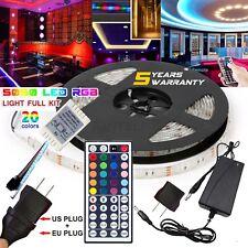 5m RGB 5050 Waterproof LED Strip Light 44 Key Remote 12v Us/eu Power Full Kit