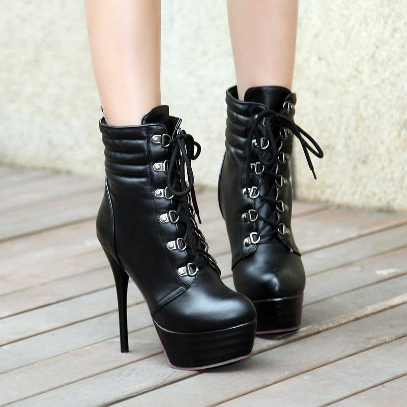 Fashion Womens Synthetic Leather Lace Up Platform High Stiletto Heel Ankle Boots
