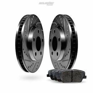 Fits Mitsubishi Galant Front Black Drill Slot Brake Rotors+Ceramic Brake Pads