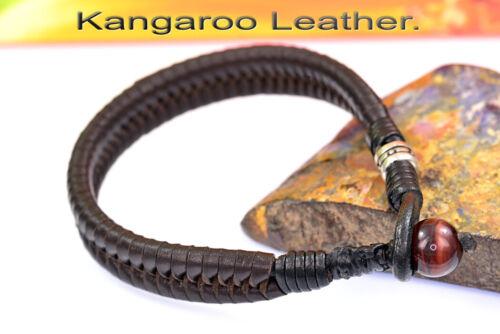 4B-411 HANDMADE Kangaroo Leather Sterling Silver New Wristband Men Bracelet