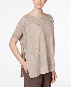 dbb566796cedb  218 NWT Eileen Fisher Bateau Neck Grid Sweater 100% Linen Side ...
