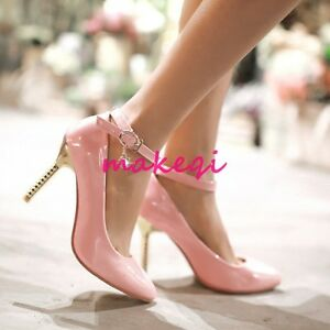 Sexy-Women-Pointy-Toe-Stiletto-Mary-Jane-Korean-Patent-Leather-Pumps-Shoes-Court