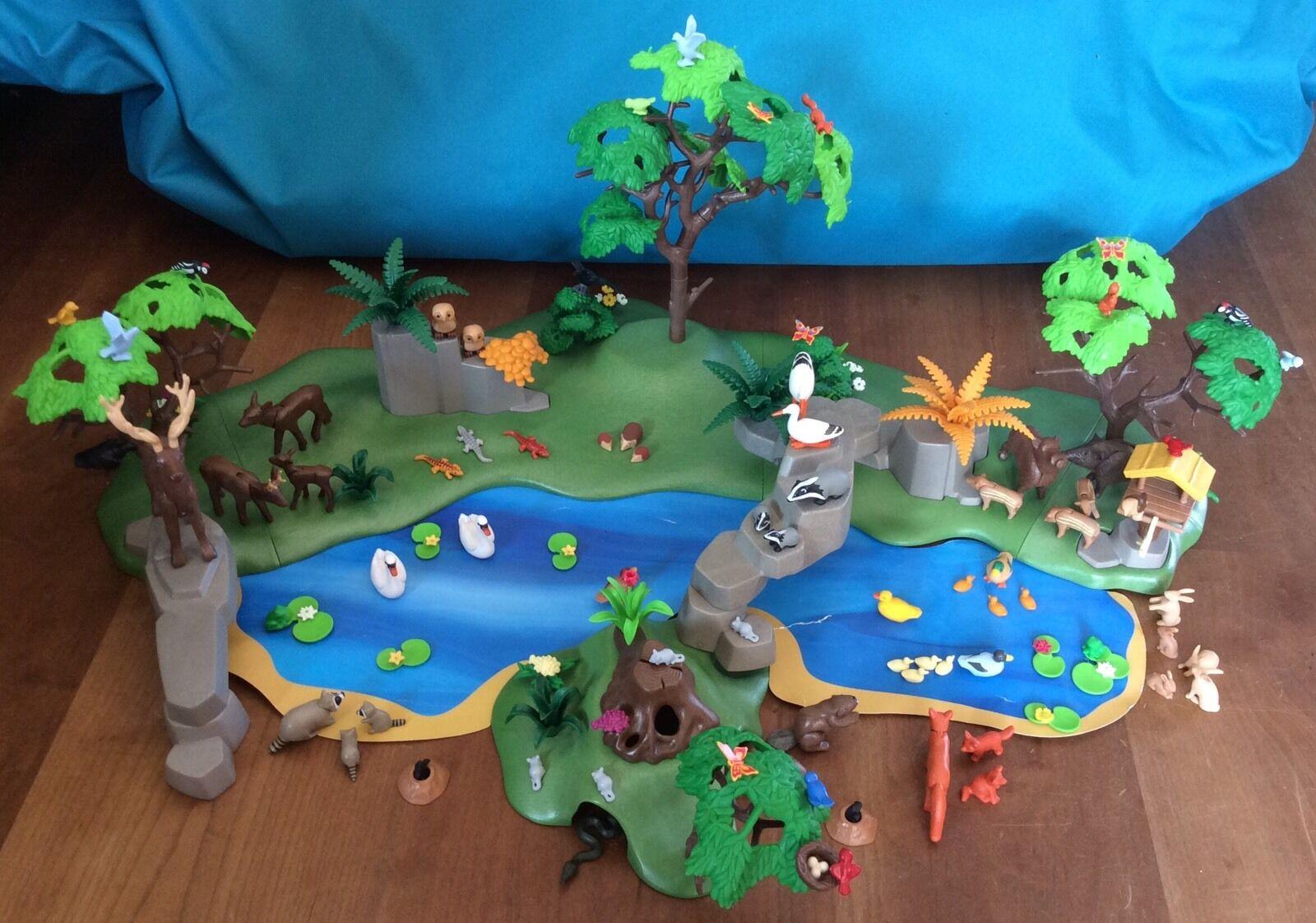 4095 Playmobil Großes Tierparadies Tiere Paradies Biber Wasserstelle Schwan Eule