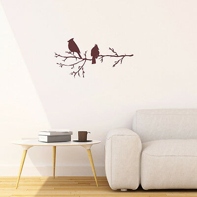 Winter Birds on Branch, Vinyl Wall Stickers Art for Home Decor