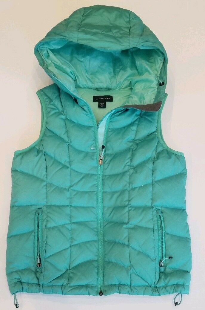 NWOT Lands End XS P (2-4) Womens Petite Quilted Down Vest Hooded Teal Green