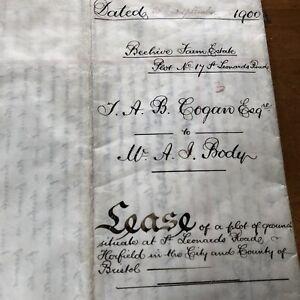 Antique 1900 Vellum Legal Document Indenture Lease Farm Horfield Bristol Farm