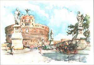 CARTOLINA-ROMA-CASTEL-S-ANGELO-ILLUSTRATORE-ALDO-RAIMONDI-1950