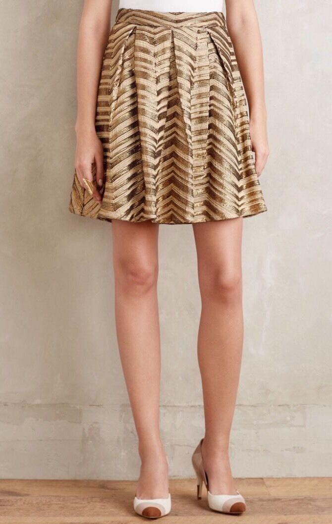 NEW Anthropologie Metallic Gilded Ghenadie Chevron Skirt Size 0