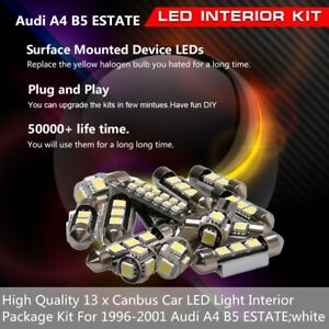 13 x Canbus Car LED Light Interior Package Kit Fit 1996-2001 Audi A4 B5 ESTATE
