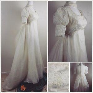 Vtg-1963-1974-Union-Princess-Empire-Waist-Puff-Sleeve-Lace-Wedding-Dress-Sz