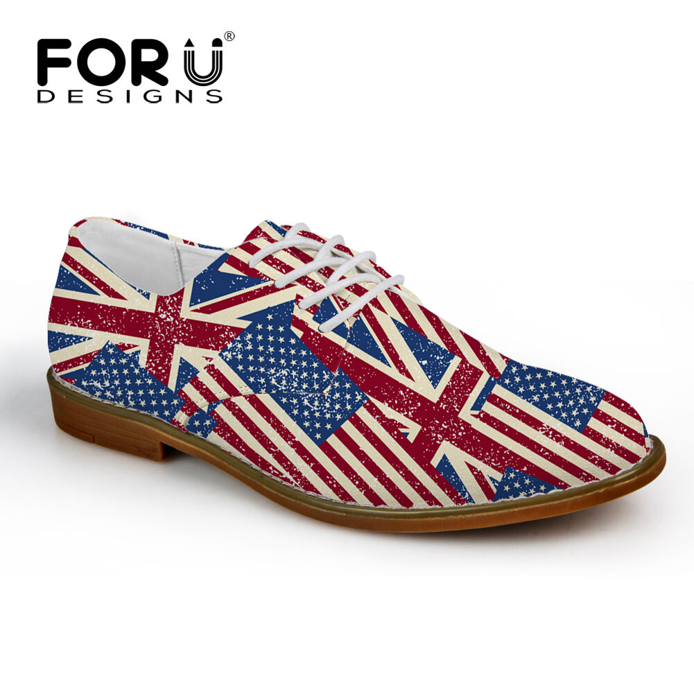 Mens Oxford shoes Anti-slip Party Dress shoes Leisure Sneakers Flag Design Cool