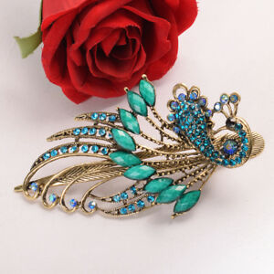 Women-039-s-Vintage-Chinese-Court-Style-Crystal-Peacock-Hair-Clips-Duckbill-Clip