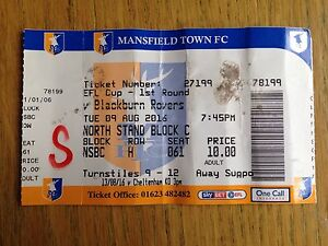 Mansfield Town v Blackburn Rovers 201617 League Cup match ticket - Pinner, United Kingdom - Mansfield Town v Blackburn Rovers 201617 League Cup match ticket - Pinner, United Kingdom