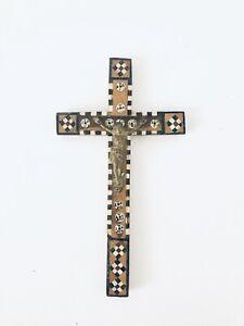 Vintage-Antique-Jerusalem-Brass-Wood-Inlay-Jesus-Crucifix-Cross