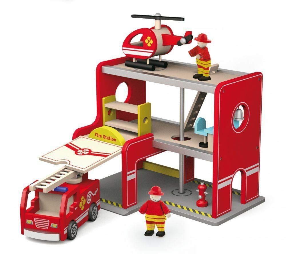 Spielhaus FEUERWEHR Spielset Feuerwehr Wache Station Puppenhaus Holzspielzeug