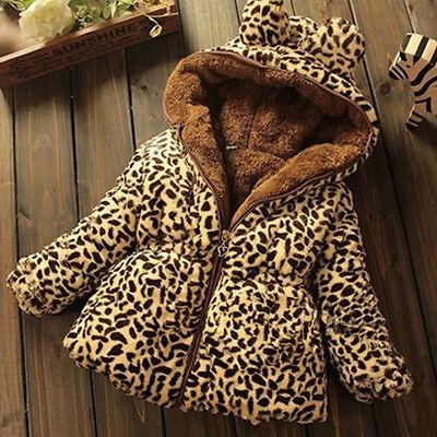 Toddler Baby girls winter Add wool leopard grain Hooded Coat Outerwear Jacket