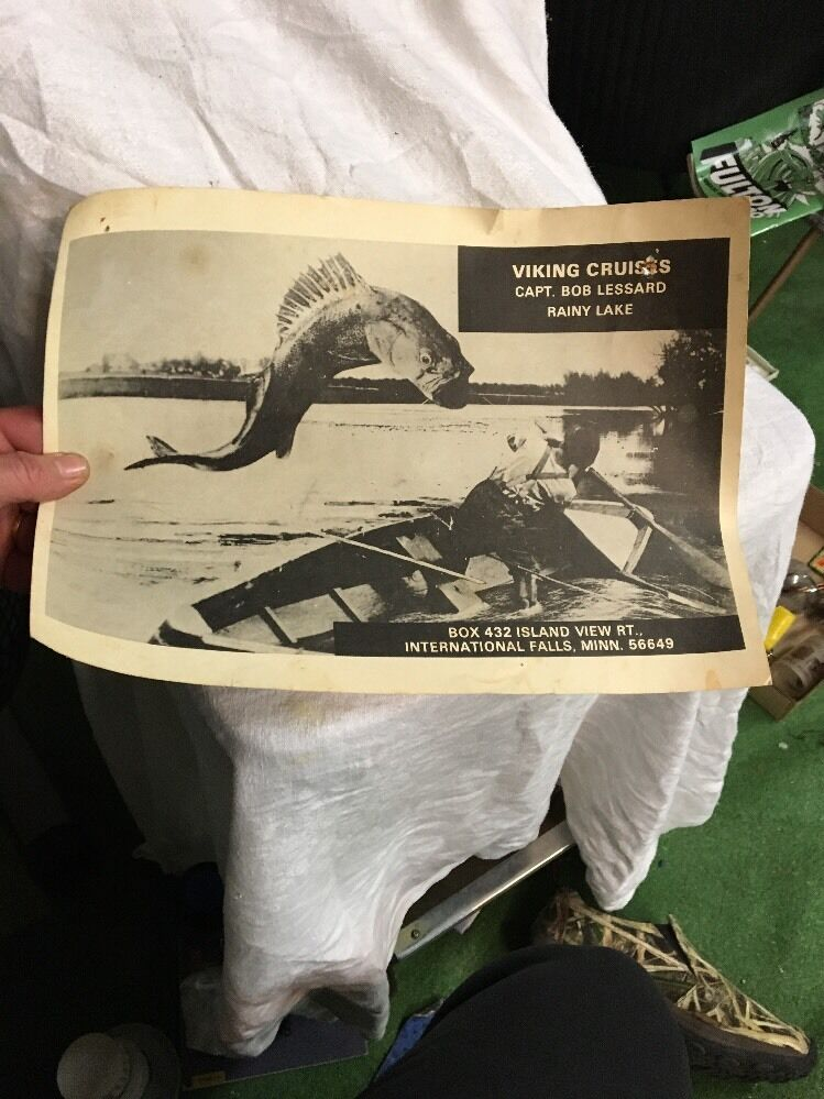Vintage adgreenising sign poster Viking Cruise Funny Fishing rainy lake MN