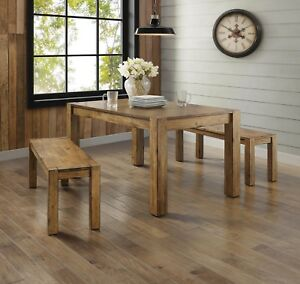 Ordinaire Details About Farmhouse Dining Room Table Set Rustic Wood Kitchen Tables  And Benches 3 Piece
