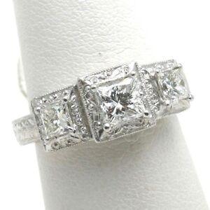 Platinum-Princess-cut-3-stone-ring-Diamond-1-38-carat-vintage-engraved-NEW