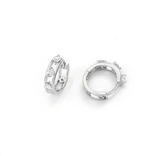 E-269 18K White Gold Filled CZ Huggie Earrings