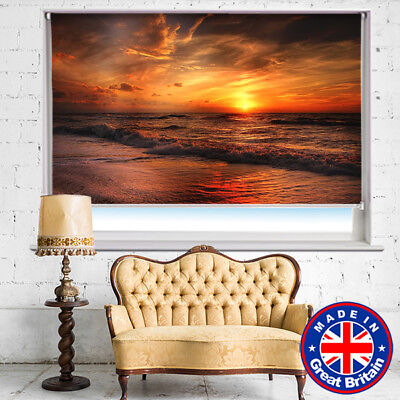 Sunset over the Ocean Printed Picture Photo Roller Blind Blackout Remote option