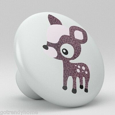 Cute Purple Polka Dot Deer Ceramic Knobs Nursery Pulls Kitchen Drawer 1089