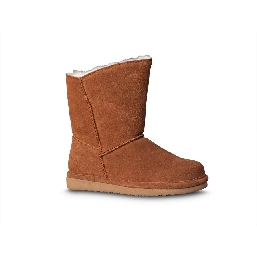 Old Friend Women's Sheepskin Casual Pull Up Ankle Boots Chestnut 441195