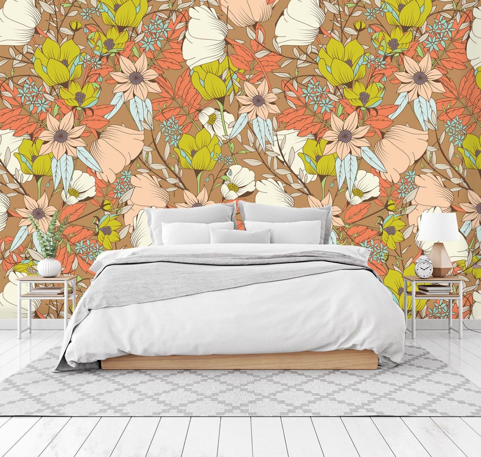 3D Orange Flower 733 Wall Paper Print Wall Decal Deco Indoor Wall Murals US