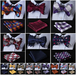 Hisdern-Mens-Silk-Self-Bow-Tie-Check-Polka-Dot-Floral-Jacquard-Handkerchief-Set