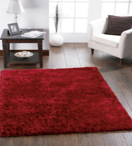 Image Is Loading Origin Shimmer Contemporary Silky Shine Shaggy Rug Red