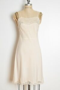 80s vanity fair cream empire lace nylon camisole lace slip top