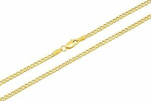 10k Yellow Gold Cuban Curb Link Chain Necklace 2.5mm Men's Women Size 26 inch