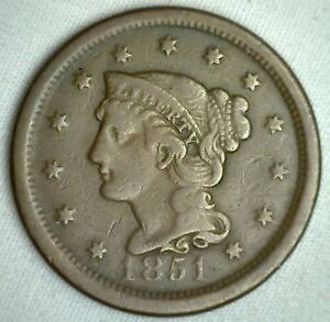 1851-Braided-Hair-Large-Cent-Copper-US-Type-Coin-FINE-Genuine-US-Penny-M23