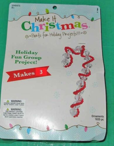 """red New /""""Candy Cane/"""" kit makes 3 ornaments clear beads"""