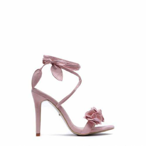 Pink Flower Strap Ankle Stiletto pink Gladiator Sandal