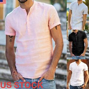 Stylish-Mens-Linen-Slim-Fit-T-shirt-Short-Sleeve-Casual-Formal-Shirts-Blouse-Top