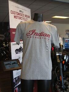 Genuine-Indian-Motorcycle-Apparel-Men-039-s-Grey-Marl-Logo-T-Shirt