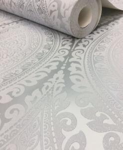 Stunning Silver Grey With Silver Glitter Damask Design Blown