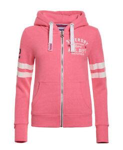 New Womens Superdry Track & Field Zip Hoodie Pink Sorbet Snowy