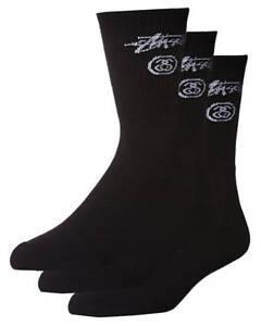 80ad3b77c05 Stussy Men s Stock Crew 3 Pack Socks Cotton Mesh Black 9347385195756 ...