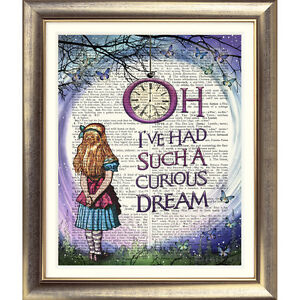 ART-PRINT-ORIGINAL-DICTIONARY-BOOK-PAGE-Alice-in-Wonderland-QUOTE-Picture-Old